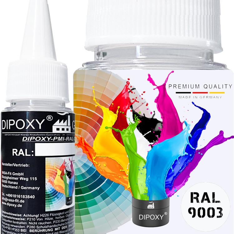 25g Dipoxy-PMI-RAL 9003 SIGNALWEISS Extrem hoch konzentrierte Basis Pigment Farbpaste Farbmittel für Epoxidharz, Polyesterharz, Polyurethan Systeme, Beton, Lacke, Flüssigfarbe Kunstharz Schmuck