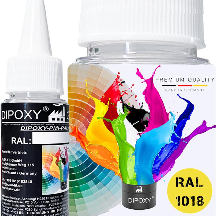 Dipoxy-PMI-RAL 1018 ZINKGELB Extrem hoch konzentrierte Basis Pigment Farbpaste Farbmittel für Epoxidharz, Polyesterharz, Polyurethan Systeme, Beton, Lacke, Flüssigfarbe Kunstharz Schmuck