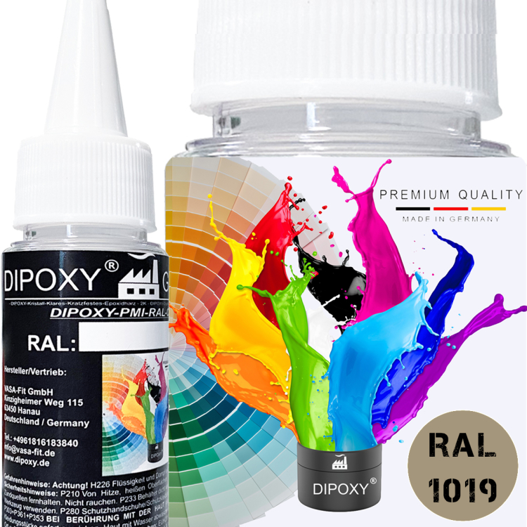 Dipoxy-PMI-RAL 1019 GRAY BEIGE Extremely highly concentrated base pigment color paste colorant for epoxy resin, polyester resin, polyurethane systems, concrete, paints, liquid paint synthetic resin jewelry
