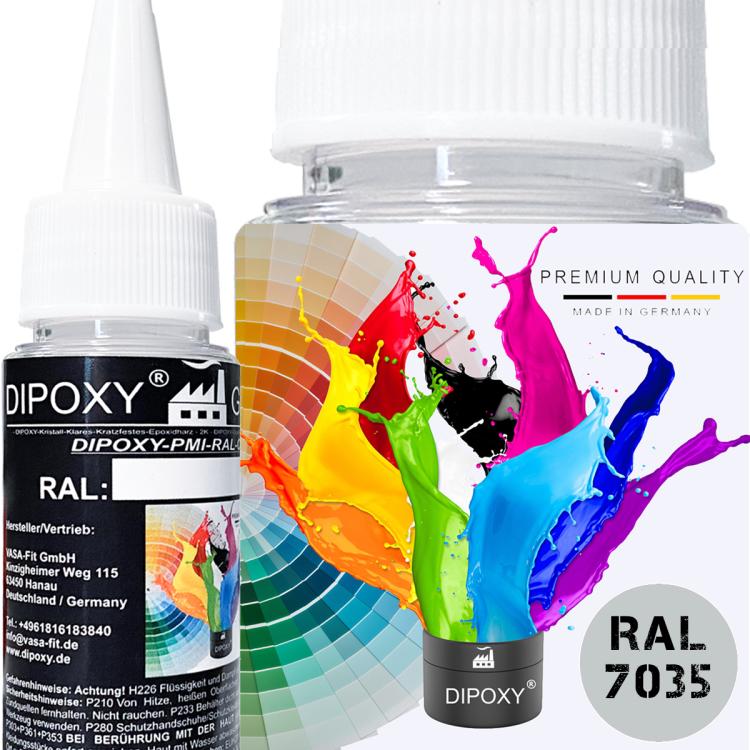Dipoxy-PMI-RAL 7035 LICHTGRAU Extrem hoch konzentrierte Basis Pigment Farbpaste Farbmittel für Epoxidharz, Polyesterharz, Polyurethan Systeme, Beton, Lacke, Flüssigfarbe Kunstharz Schmuck