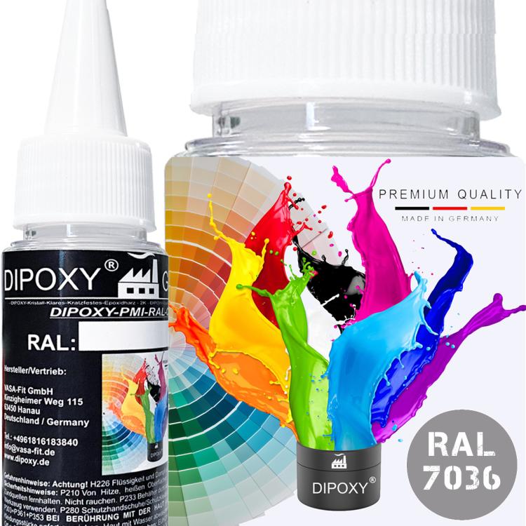 Dipoxy-PMI-RAL 7036 PLATINGRAU Extrem hoch konzentrierte Basis Pigment Farbpaste Farbmittel für Epoxidharz, Polyesterharz, Polyurethan Systeme, Beton, Lacke, Flüssigfarbe Kunstharz Schmuck