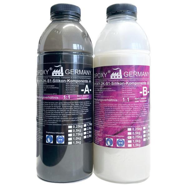 Dipoxy - Silicona de 2 componentes Tipo S1 de 1500 g, Suave para Resina epoxi, hormigón, jabón, Cera, etc. (2 x 750 g)…