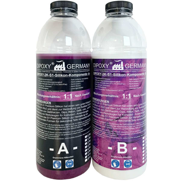 Dipoxy 500 g Premium 2 Component Silicone Type S1 Dubling Silicone Soft for Epoxy Resin, Concrete, Soap, Wax, etc. (2 x 250 g)