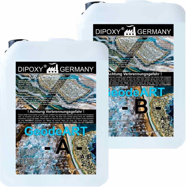 9,0 Kg Résine époxy Diopxy-2K-4000GeodeART 2K EP de qualité professionnelle, transparente, peu odorante, résine coulée époxy ondulée, résine UV…