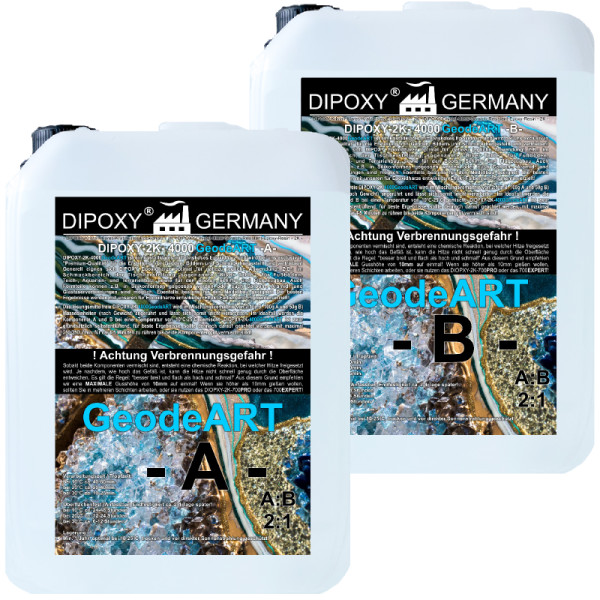 9,0 Kg Resina epoxi + endurecedor DIOPXY-2K-4000GeodeART 2K EP, calidad profesional, transparente, sin olor, resina de moldeo epoxi Wave ART UV Stab.…