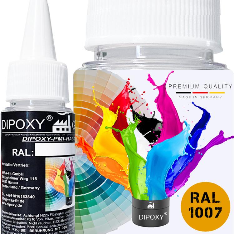 Dipoxy-PMI-RAL 1007 NARZISSENGELB Extrem hoch konzentrierte Basis Pigment Farbpaste Farbmittel für Epoxidharz, Polyesterharz, Polyurethan Systeme, Beton, Lacke, Flüssigfarbe Kunstharz Schmuck