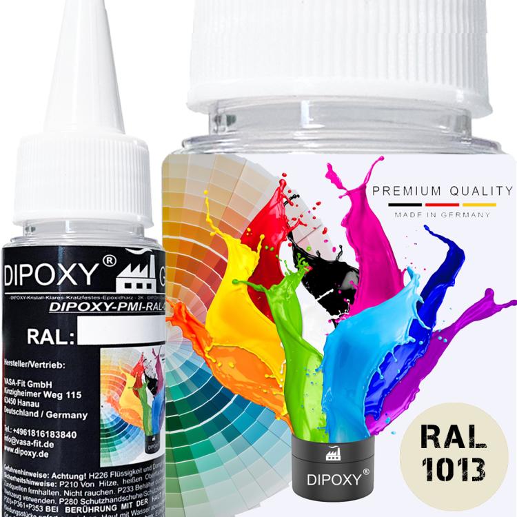 Dipoxy-PMI-RAL 1013 PERLWEIß Extrem hoch konzentrierte Basis Pigment Farbpaste Farbmittel für Epoxidharz, Polyesterharz, Polyurethan Systeme, Beton, Lacke, Flüssigfarbe Kunstharz Schmuck