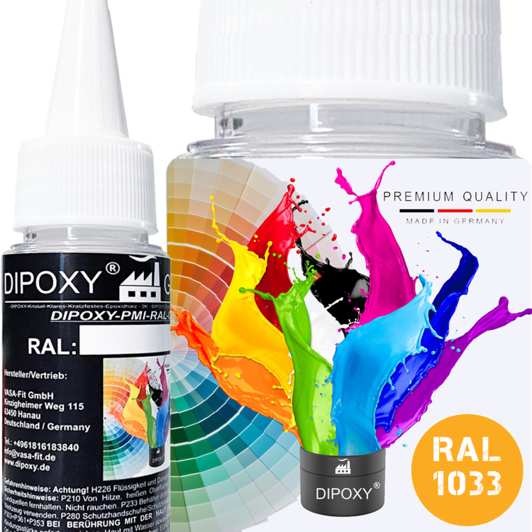 Dipoxy-PMI-RAL 1033 Pâte à base de pigment très concentrée pour résine époxy et résine de polyester, systèmes de polyuréthane, béton, vernis, peinture liquide en résine liquide, bijoux
