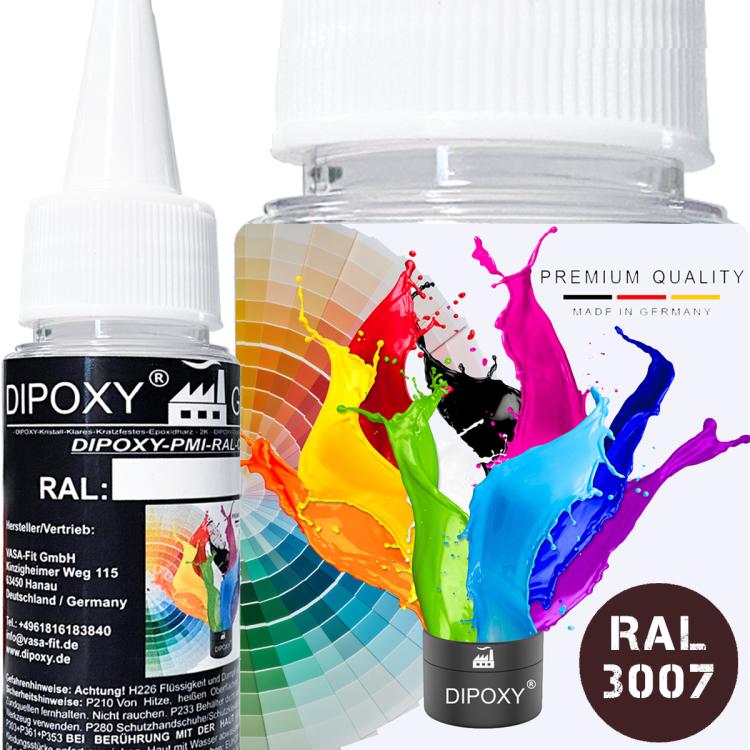 Dipoxy-PMI-RAL 3007 SCHWARZROT Extrem hoch konzentrierte Basis Pigment Farbpaste Farbmittel für Epoxidharz, Polyesterharz, Polyurethan Systeme, Beton, Lacke, Flüssigfarbe Kunstharz Schmuck