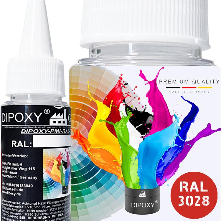 Dipoxy-PMI-RAL 3028 REINROT Extrem hoch konzentrierte Basis Pigment Farbpaste Farbmittel für Epoxidharz, Polyesterharz, Polyurethan Systeme, Beton, Lacke, Flüssigfarbe Kunstharz Schmuck