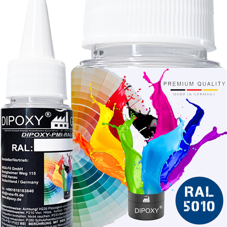 Dipoxy-PMI-RAL 5010- Pasta colorante a base estremamente concentrata, , per resina epossidica, resina di poliestere, sistemi di poliuretano, calcestruzzo, vernici, vernice liquida, resina…
