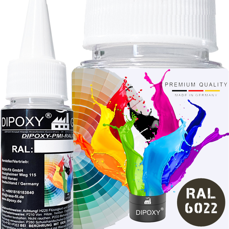 Dipoxy-PMI-RAL 6022- Pasta colorante a base estremamente concentrata, , per resina epossidica, resina di poliestere, sistemi di poliuretano, calcestruzzo, vernici, vernice liquida, resina…