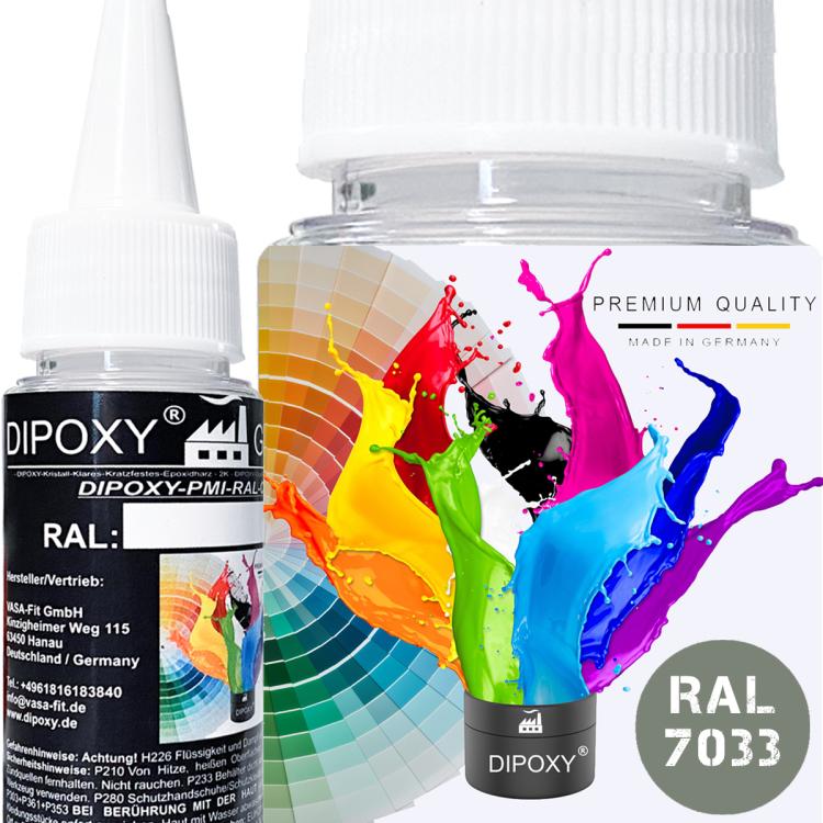 Dipoxy-PMI-RAL 7033 ZEMENTGRAU Extrem hoch konzentrierte Basis Pigment Farbpaste Farbmittel für Epoxidharz, Polyesterharz, Polyurethan Systeme, Beton, Lacke, Flüssigfarbe Kunstharz Schmuck