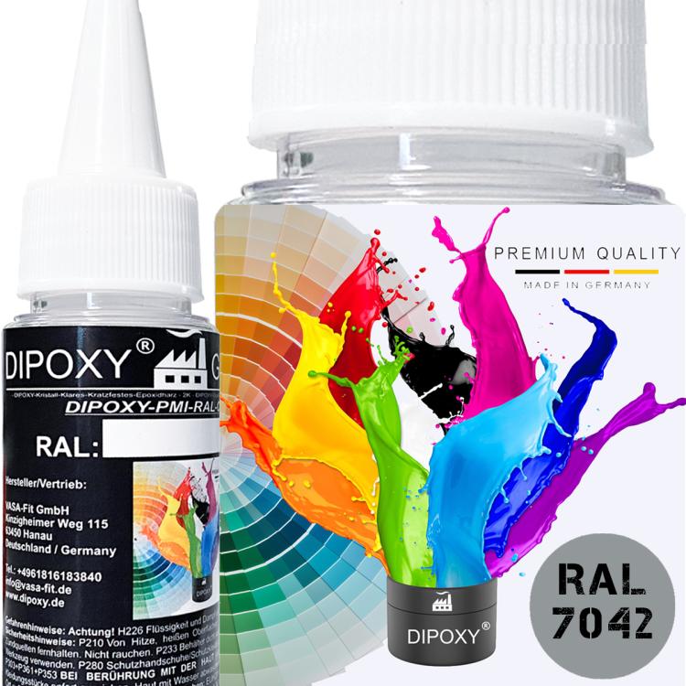 Dipoxy-PMI-RAL 7042 VERKEHRSGRAU Extrem hoch konzentrierte Basis Pigment Farbpaste Farbmittel für Epoxidharz, Polyesterharz, Polyurethan Systeme, Beton, Lacke, Flüssigfarbe Kunstharz Schmuck