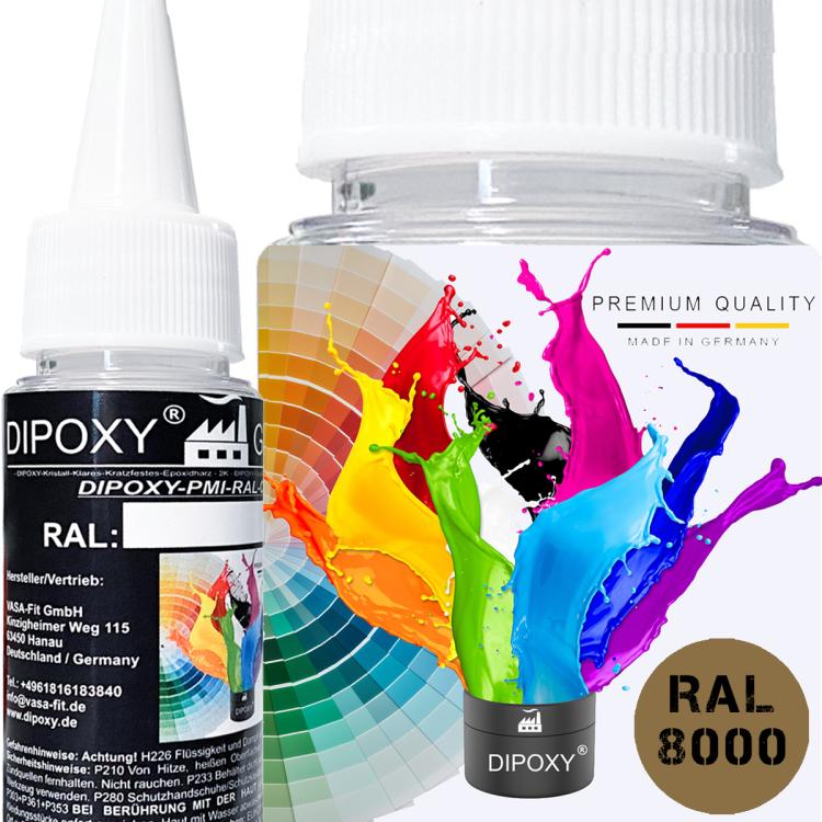 Dipoxy-PMI-RAL 8000 GRÜNBRAUN Extrem hoch konzentrierte Basis Pigment Farbpaste Farbmittel für Epoxidharz, Polyesterharz, Polyurethan Systeme, Beton, Lacke, Flüssigfarbe Kunstharz Schmuck
